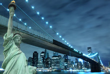 Brooklyn Bridge and The Statue of Liberty at Night