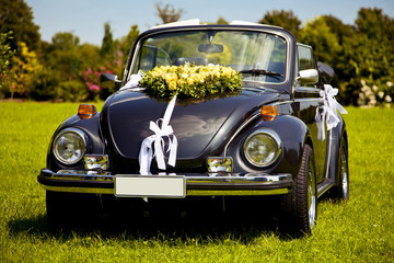 Black wedding car