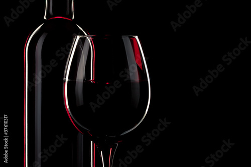 Foto op Aluminium Wijn vin bouteille verre
