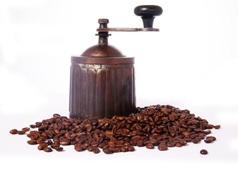 Antique coffee mill on white background