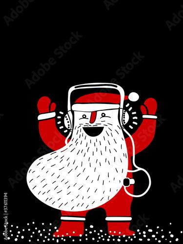 santa  with headphones