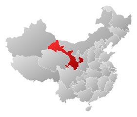 Map of China, Gansu highlighted