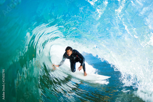 Surfer in Amazing Blue Barrel