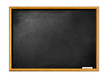 blank black board with wooden frame and piece of chalk
