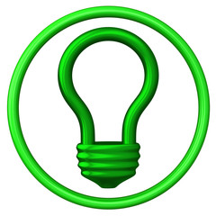 Green abstract light bulb icon 3d