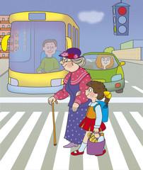 girl helps her grandmother cross the street