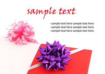 red and pind gift card with ribbin bow on white background blank