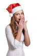 Young business woman in santa hat , isolated on white