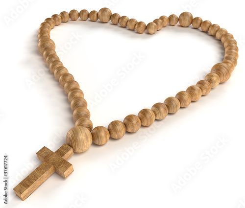 Leinwandbild Motiv religious life and love: wooden chaplet or rosary beads