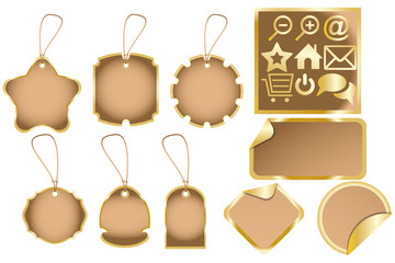 Dummies for various labels and golden web icons