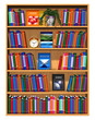 Wooden bookcase with lot of color books