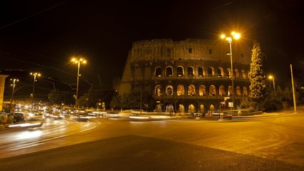 Timelapse of Colosseum in rome at night