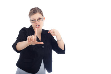 Woman gestures loser sign