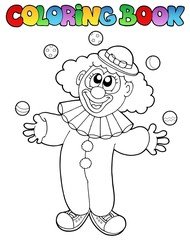 Coloring book with cheerful clown 1