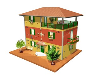 Architettura Tipica Liguria Italia-North Italy Architecture-3d