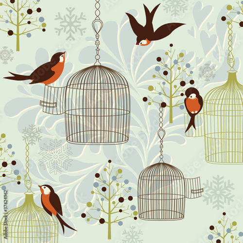 Keuken foto achterwand Vogels in kooien Winter Birds, Birdcages, Christmas trees and vintage background
