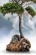 Urang-Utan-Paar Unterm Baum