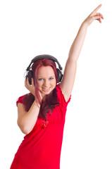 Mädchen mit Kopfhörern beim tanzen