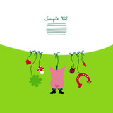 Card Hanging Pig & Symbols New Year´s Eve poster