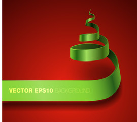 Vector Ribbon  Curling Christmas Tree
