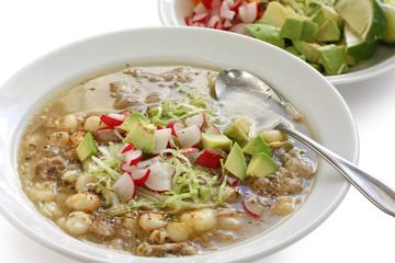 white pozole, mexican soup cuisine