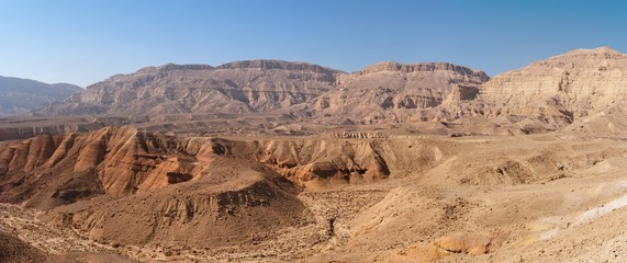 Scenic desert landscape in the Small Crater  in Israel