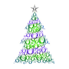 colorful christmas tree bubbles