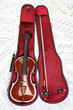 Violin case notes. Classical musical instrument