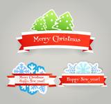 Polygonal vintage origami Christmas banners poster