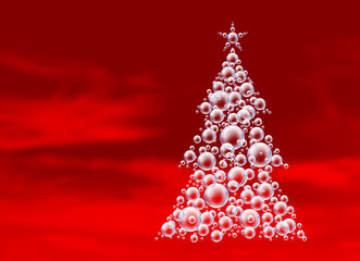 red bubbles xmas tree