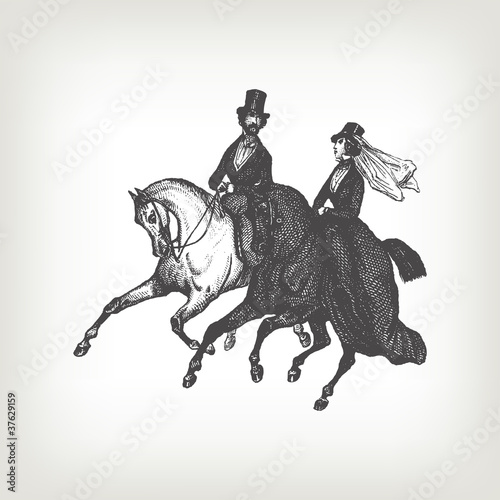 Engraving vintage noble horse riders.