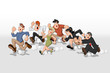 Cartoon people running. High speed race.