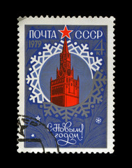 USSR - CIRCA 1978: red Kremlin with red star for New Year, snow