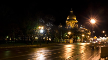 St. Isaac's Cathedral in St. Petersburg at night