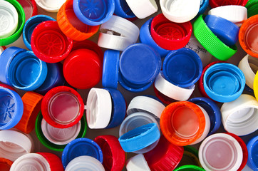 colorful plastic lids close up background