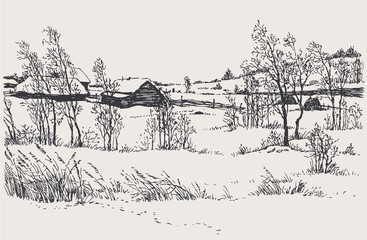 Vector winter landscape. A cold wind over the village