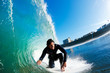 Surfer on Amazing Blue Ocean Wave