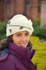 Beautiful woman with ear protector