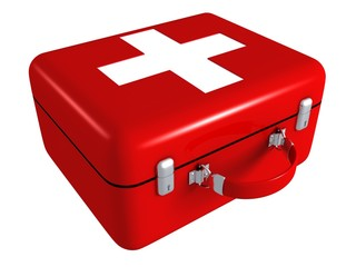 First aid red medical kit box