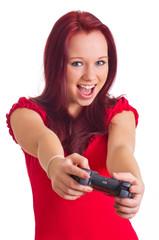 lachender Teenager beim Video spielen