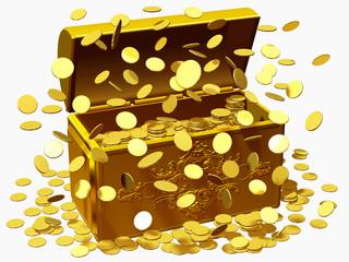 Schatztruhe im Geldregen, Lotteriegewinn, Jackpot