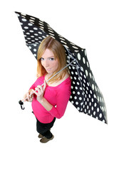 Woman with a polka dot umbrella