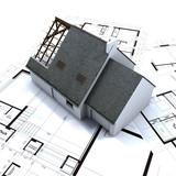 Detached house on architect blueprints poster