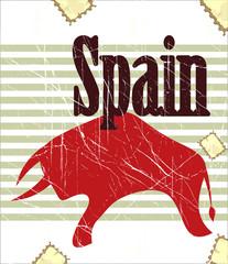 Spanish bull on grungy background