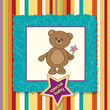 baby announcement card with teddy bear and flower