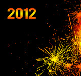 New Year eve holiday background with fireworks border poster