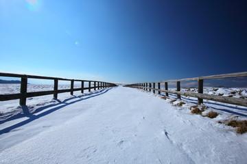 雪道 冬の美ヶ原高原