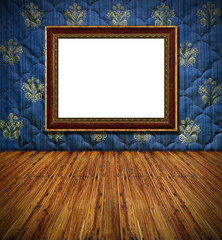 old style vintage golden frame on blue stitched textile decorate