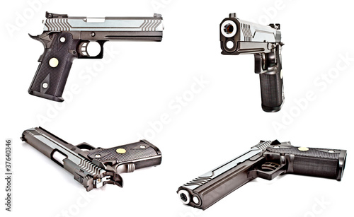 a set of modern semi automatic handgun