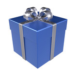 Gift Box. Blue Gift Box, Isolated.